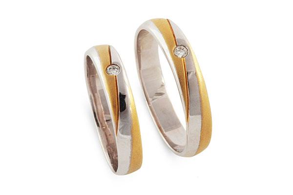 Sự kết hợp hoàn hảo giữ vàng trắng và kim cương trong những chiếc nhẫn cưới